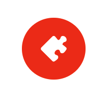 a white puzzle piece against a red background