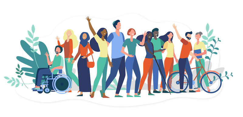 illustrated diverse group waving