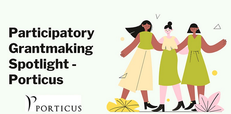 Three illustrated ladies holding hands w caption Future of Participatory Grantmaking
